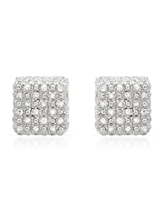 Genuine Morne Rouge (TM) Earrings. 0.85 Ctw I2 Color G-H Diamonds Sterling Silver Earrings. 2.6 Grams in Weight and 8 mm in Length. 100% Satisfaction Guaranteed.
