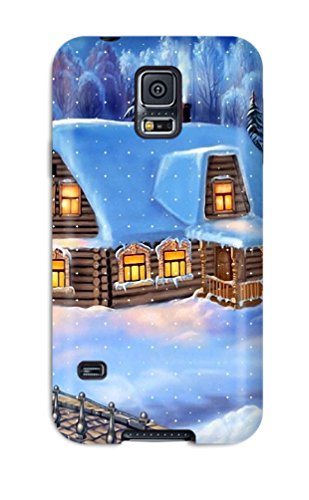 Perfect Fit XVOhACp5149NhrHE Home Christmas Vector Design Fairy Tale Winter House Forest Cabin Xmas Santa Claus Holiday Christmas Case For Galaxy - S5