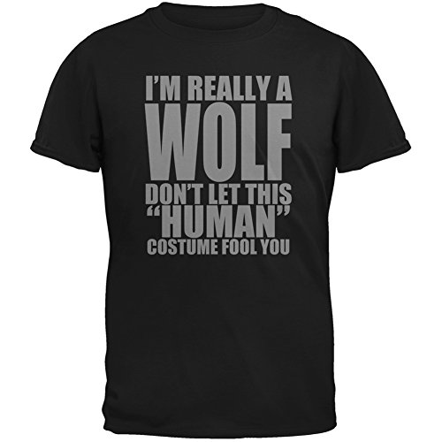 Halloween Human Wolf Costume Black Adult T-Shirt