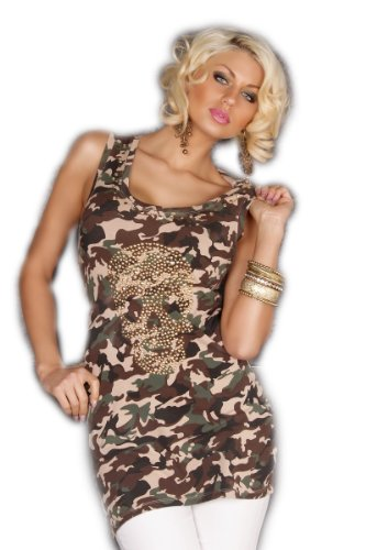 New Army Camouflage Long Top Shirt Rhinestones Studs Greens Browns L/XL (12-14)