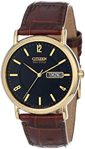 "Citizen Men's BM8242-08E ""Eco-Drive"" Gold-Tone Stainless Steel and Leather Strap Watch"