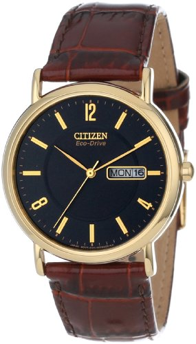 Citizen Mens BM8242-08E Eco-Drive Gold-Tone Leather Watch