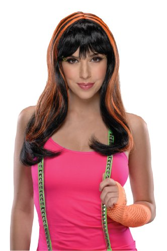 Rubie's Costume Streaks Wig, Neon Orange/Black, One Size