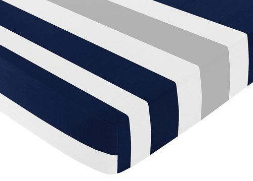 Fitted Crib Sheet for Navy and Gray Stripe Baby/Toddler Bedding - Stripe Print (Crib Sheet Navy compare prices)