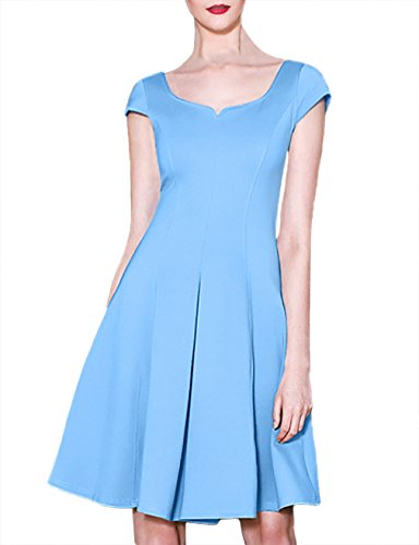 Women Dresses Casual,Bebonnie Women Stretch Solid Chic Inverted Pleat Dress for Knee Length on Sale Dress Light Blue L (Baby Dress Light Blue compare prices)