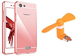 Novo Style Back Cover Case with Bumper Frame Case for OPPO Neo 5 Rose Gold + Smallest Mobile Fan Android Smart Phone & USB Dual Power