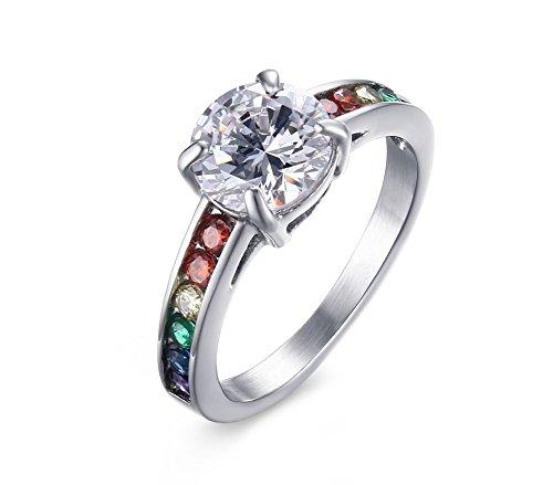 LianDuo Acciaio inossidabile Gay Lesbiche LGBT zirconi Arcobaleno Orgoglio Matrimonio Solitaire Ring per aggancio di cerimonia nuziale,Argento