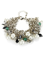 M&S Collection Pearl Effect & Bead Cluster Bracelet