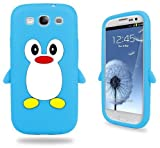 Samsung Baby Blue Penguin Silicone Case Cover With Free Custom Screen Protector, WirelessGeeks247 Metallic Detachable Touch Screen Stylus Pen and Anti Dust Plug For Samsung Galaxy S3 i9300