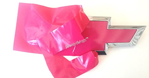 DownardWraps Hot Pink Vinyl Decals (overlays) You Cut Chevy Bowtie Emblem skin covers from (2) 11