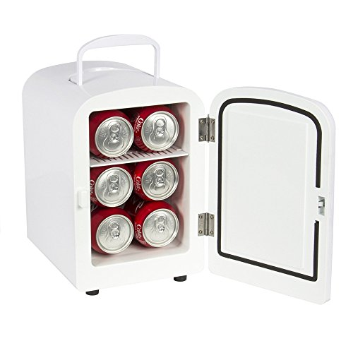 Mini Fridge Portable Cooler and Warmer Auto 6 Can Car Boat Home Office Cool and Warm Drinks AC & DC White (Nba Mini Fridge compare prices)
