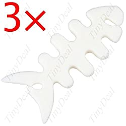3 x White Fishbones Shape Soft Wrap Device for Earphones Cable Thin Wire MSW-7656