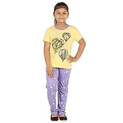 FICTIF Kid Girl's Yellow and Purple Color Top & Pyjama Set