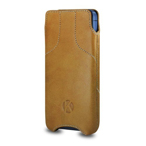 Best Price iPhone 5S Case - Kouros Torque - Genuine Italian Leather Case - Pouch Cover (Camel)