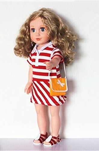 Salsy Fit 18 Inch Doll Outfit, Stylish Red and White Line Doll Dress & Beautiful Purse - 1