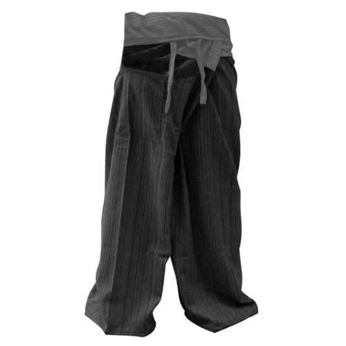 2 Tone Thai Fisherman Pants Yoga Trousers Free Size Cotton Gray and Charcoal, Free Size