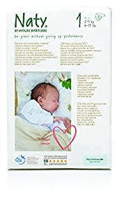 Naty by Nature Babycare Newborn Size 1 (4-11 lbs/2-5 kg) Nappies - 2 x Packs of 26 (52 Nappies)
