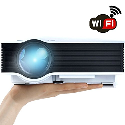 """ERISAN Updated ER46W 1200 Lumens WiFi Wireless Full Color 130"""" Image Pro Mini Portable LCD LED Home Theater Cinema Game Projector - Support HD 1080P Video /IP/IR/USB/SD/HDMI/VGA"""
