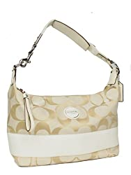 Authentic Coach Signature Stripe Hobo Handbag 17434 Light Khaki White