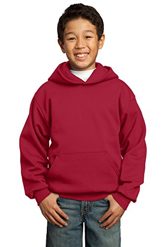 Port & Company Boys' Pullover Hooded Sweatshirt L Red