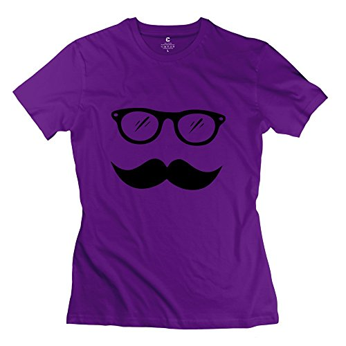 Women's Short Sleeve Moustache Tshirt Purple