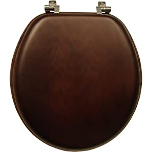 Mayfair/ Bemis 9601CP 888 Natural Walnut Wood Toilet Seat with Chrome Hinges, Round