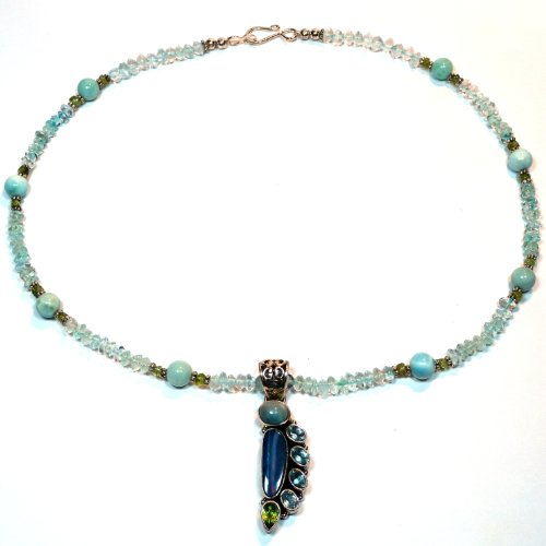 Sterling Silver Blue Topaz, Larimar, Peridot, Opal Necklace, 19 Inches