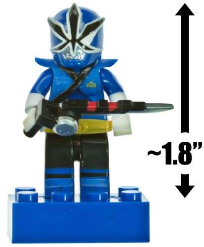 "Blue Ranger Mega Mode ~1.8"" Micro-Figure: Power Rangers Super Samurai x Mega Bloks Series #2"