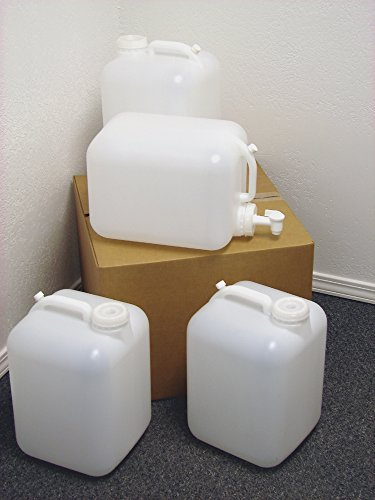 5 Gallon Carboy, 4 Pack (20 Gallons), Emergency Water Storage Kit - New! - Clean! - Boxed! - Free Spigot! (Jugs With Spigots compare prices)