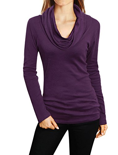 Allegra K Woman Cowl Neck Long Sleeves Slim Cut Pullover Top Purple XL (Allegra Clothing For Women compare prices)