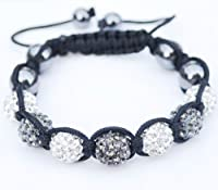 Iced Out Shamballa Bracelet Macrame Disco Silver Stone 9mm by NYFASHION101