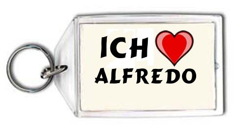 Schl&#252;sselhalter mit Aufschrift Ich liebe Alfredo (Vorname/Zuname/Spitzname)