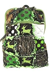 Cute! Patchwork Camo Deer Small Backpack Purse Green Camouflage Polka Dot