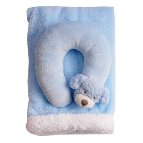 Blankets And Beyond Baby's 2 Piece Animal Motif Travel Set Blue Dog