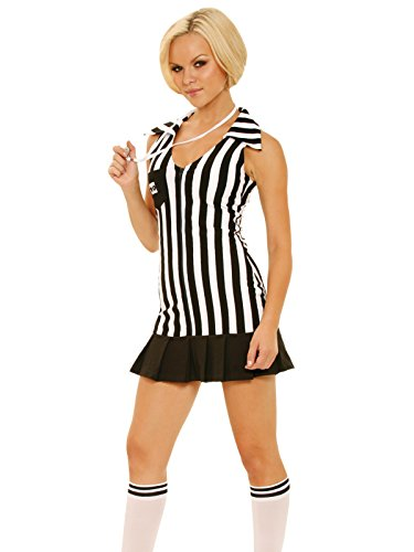Black and White Stripe Referee Costume Womens Dress and Accessories 3 Piece Set