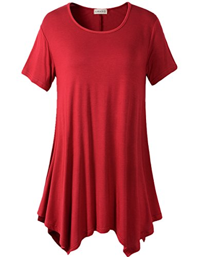 Lanmo Womens Swing Tunic Tops Loose Fit Comfy Flattering T Shirt (3X, Wine Red)