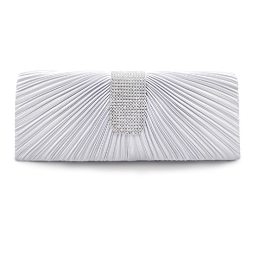 AiSi® Women's Pleated Satin Crystal Handle Evening Clutch Bag Prom Bridal Purse