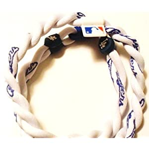Los Angeles Dodgers White 3 Rope X50 Titanium Tsunami Sport Necklace 18