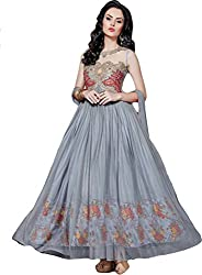Regalia Ethnic New Collection Gray Embroidered Net Semistitched Dress Material With Matching Dupatta