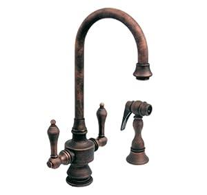 Whitehaus WHKSDLV3-8104-ABRAS Vintage-3 5 1/4-Inch Dual Handle Bar Faucet with Short Gooseneck Spout, Lever Handles and Side Spray, Antique Brass