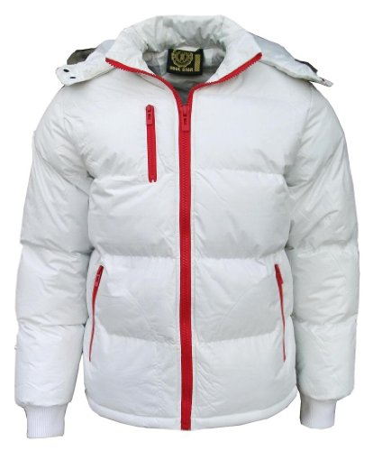 Soul Star Men's Puffa Padded Bomber Hooded Jacket Coat off white/red zip Large