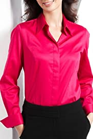 Cotton Rich Satin Stretch Woven Shirt [T43-0107-S]