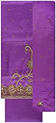 Gunjan Women's Cotton Unstitched Salwar Suit (Purple)