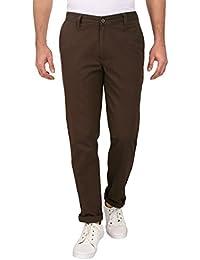 Barata Dobby Men's Brown Trouser Regular Fit, 100% Cotton Trouser For Men