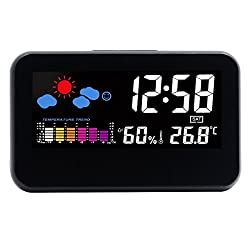 Hippih Weather Station with LED Nightlight,Time/Temperature/Humidity /Day/Date Display Digital Alarm Clock (Black)