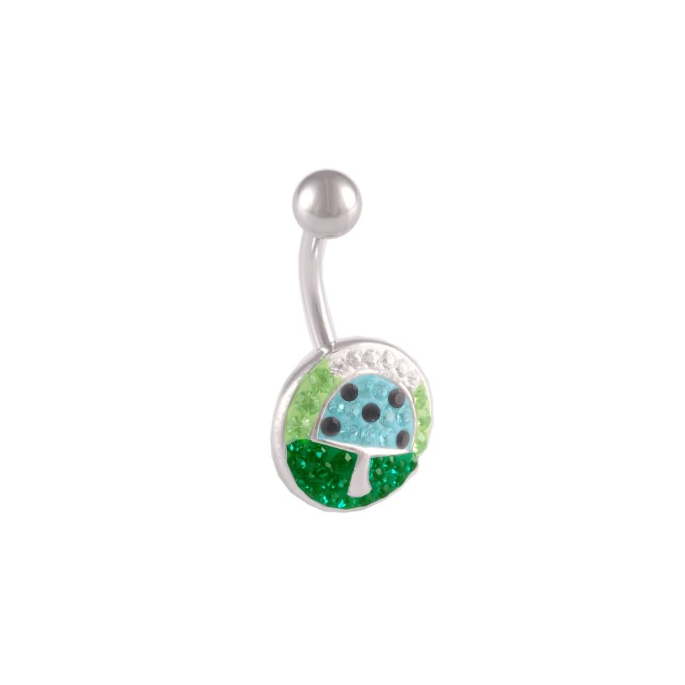 14 Gauge 1.6mm 3/8 10mm cute belly ring navel bar surgical steel unique button AWLT Body Piercing Jewelry
