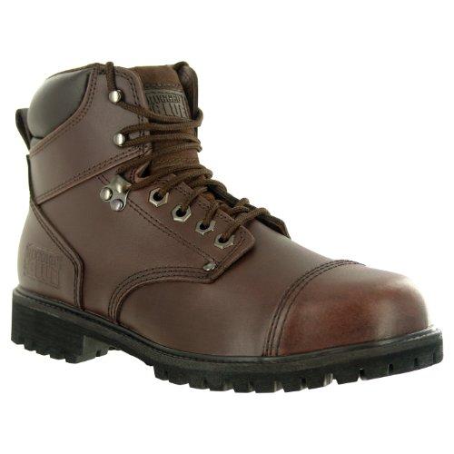 Rugged Blue RB2 1800 Leather Steel Toe Waterproof Men's Work Boot, Size 10.5M, Dark Brown