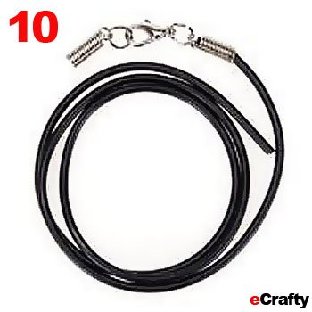 "10 Pack Diy Neck Cords Kit 2Mm W/Lob Clasp 18"" Black Rubber Jewelry Making"