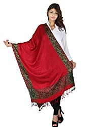 Figaro Red & Grey Viscose Woven Women's Shawl