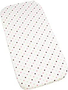 Carters Super Soft Printed Changing Pad Cover, Pink/Green Dot